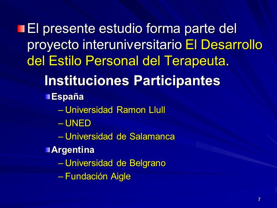 7 El presente estudio forma parte del proyecto interuniversitario El Desarrollo del Estilo Personal del Terapeuta. Instituciones Participantes España