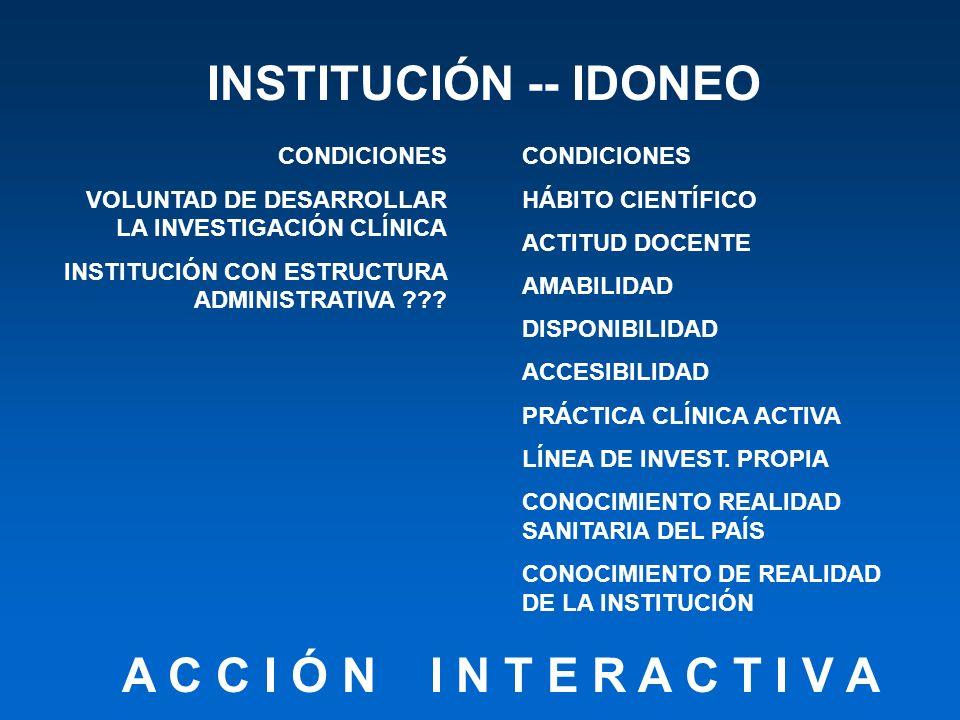 INSTITUCIÓN -- IDONEO CONDICIONES VOLUNTAD DE DESARROLLAR LA INVESTIGACIÓN CLÍNICA INSTITUCIÓN CON ESTRUCTURA ADMINISTRATIVA ??? CONDICIONES HÁBITO CI