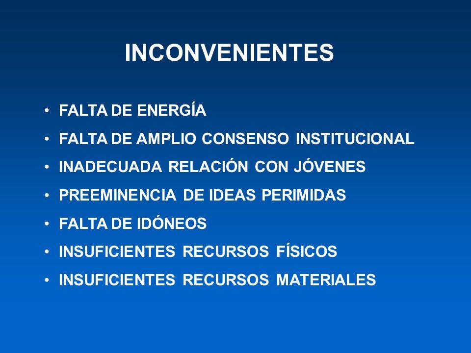 INCONVENIENTES FALTA DE ENERGÍA FALTA DE AMPLIO CONSENSO INSTITUCIONAL INADECUADA RELACIÓN CON JÓVENES PREEMINENCIA DE IDEAS PERIMIDAS FALTA DE IDÓNEO