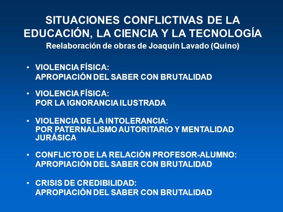 SITUACIONES CONFLICTIVAS DE LA EDUCACIÓN, LA CIENCIA Y LA TECNOLOGÍA Reelaboración de obras de Joaquín Lavado (Quino) VIOLENCIA FÍSICA: APROPIACIÓN DE