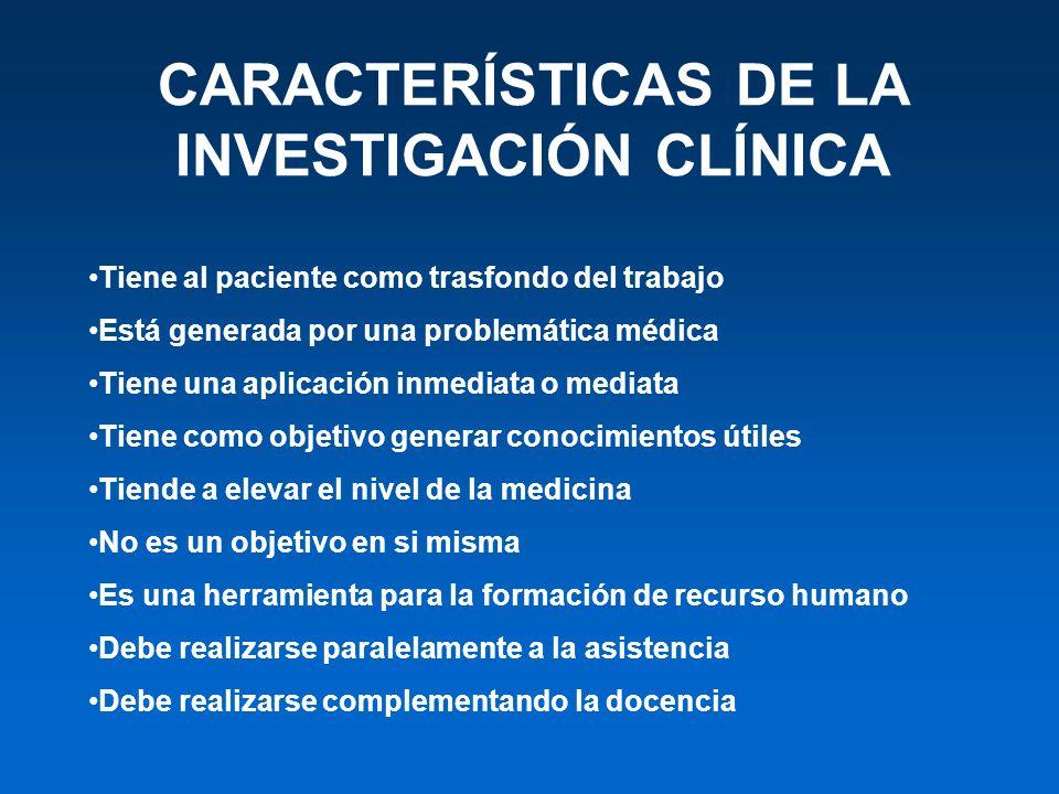 CARACTERÍSTICAS DE LA INVESTIGACIÓN CLÍNICA Tiene al paciente como trasfondo del trabajo Está generada por una problemática médica Tiene una aplicació
