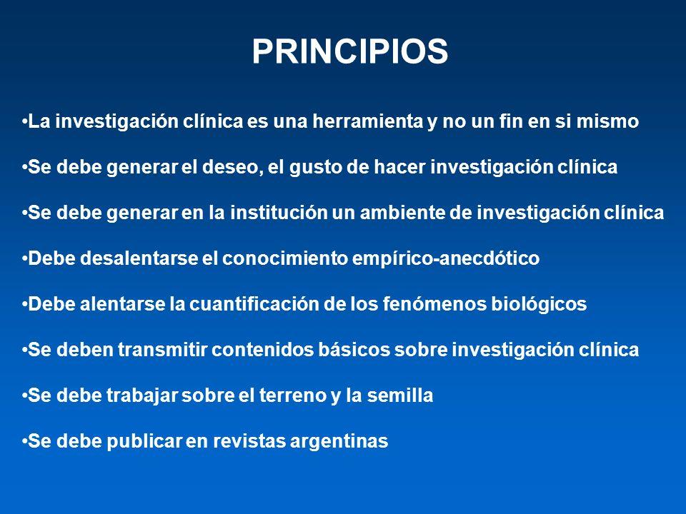 PRINCIPIOS La investigación clínica es una herramienta y no un fin en si mismo Se debe generar el deseo, el gusto de hacer investigación clínica Se de