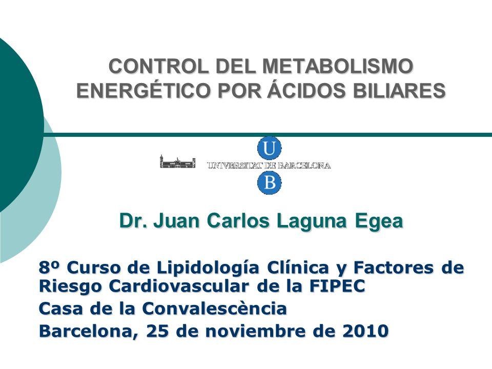 CONTROL DEL METABOLISMO ENERGÉTICO POR ÁCIDOS BILIARES Dr. Juan Carlos Laguna Egea 8º Curso de Lipidología Clínica y Factores de Riesgo Cardiovascular