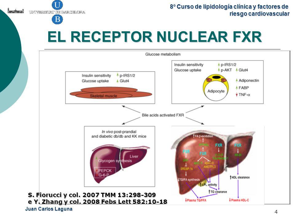 Juan Carlos Laguna 8º Curso de lipidología clínica y factores de riesgo cardiovascular 4 EL RECEPTOR NUCLEAR FXR S. Fiorucci y col. 2007 TMM 13:298-30