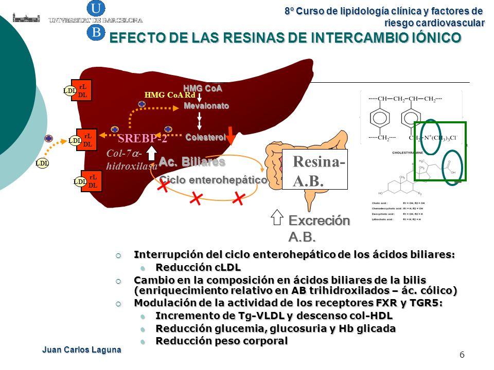 Juan Carlos Laguna 8º Curso de lipidología clínica y factores de riesgo cardiovascular 6 EFECTO DE LAS RESINAS DE INTERCAMBIO IÓNICO Interrupción del