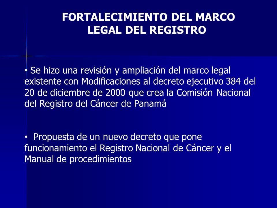FORTALECIMIENTO DEL MARCO LEGAL DEL REGISTRO Se hizo una revisión y ampliación del marco legal existente con Modificaciones al decreto ejecutivo 384 d