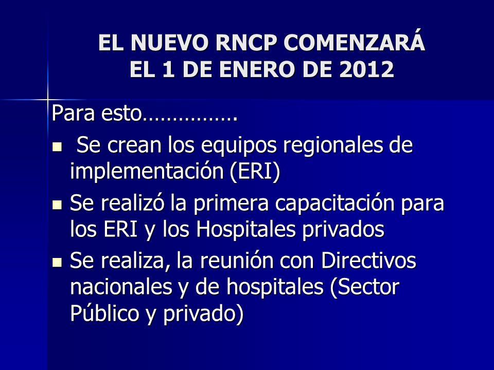 EL NUEVO RNCP COMENZARÁ EL 1 DE ENERO DE 2012 Para esto……………. Se crean los equipos regionales de implementación (ERI) Se crean los equipos regionales