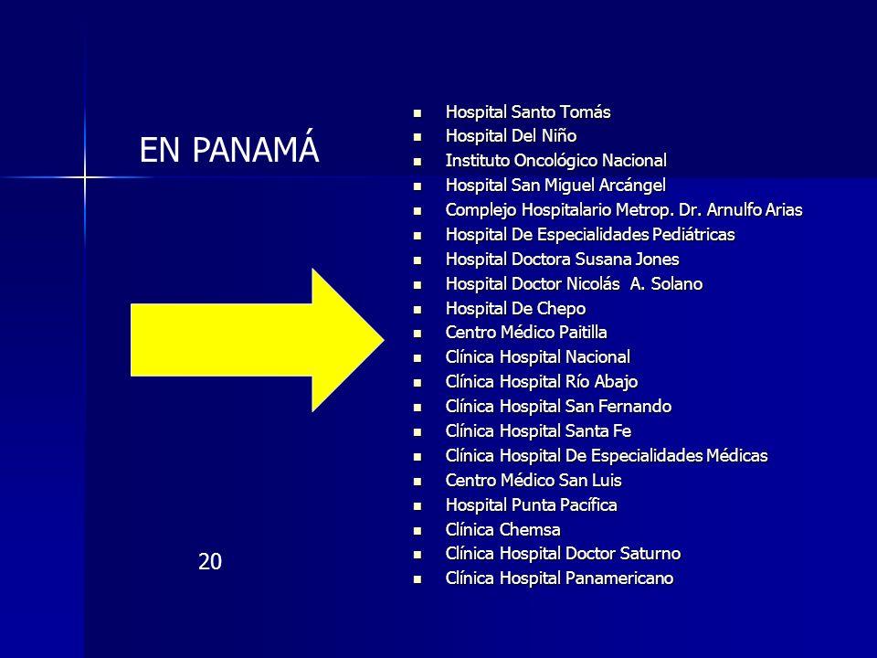 Hospital Santo Tomás Hospital Santo Tomás Hospital Del Niño Hospital Del Niño Instituto Oncológico Nacional Instituto Oncológico Nacional Hospital San
