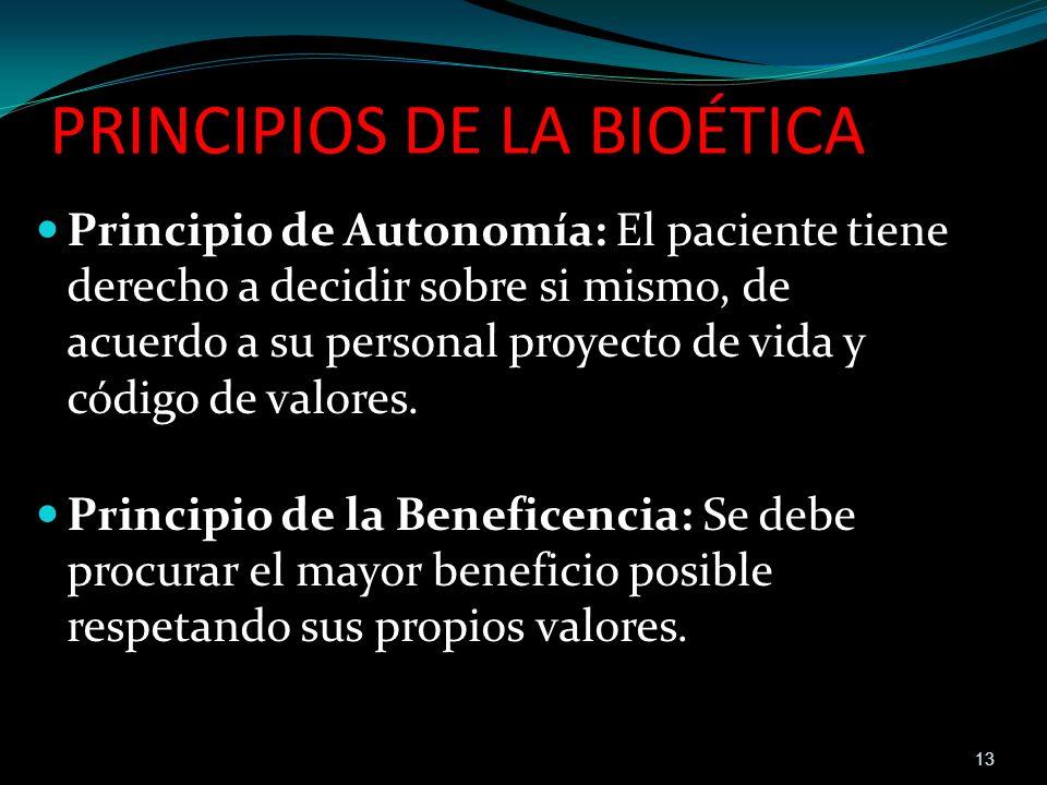 PRINCIPIOS DE LA BIOÉTICA Principio de Autonomía: El paciente tiene derecho a decidir sobre si mismo, de acuerdo a su personal proyecto de vida y códi