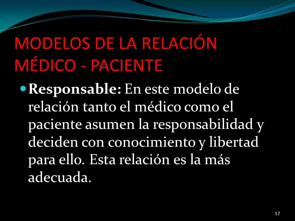 Responsable: En este modelo de relación tanto el médico como el paciente asumen la responsabilidad y deciden con conocimiento y libertad para ello. Es