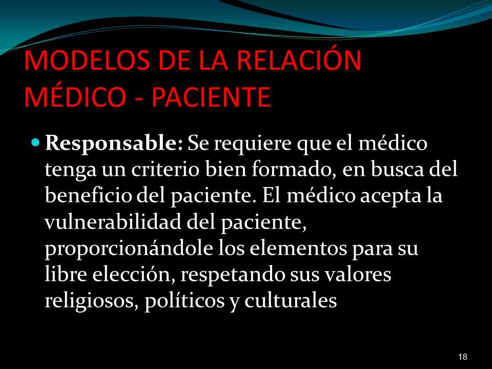 Responsable: Se requiere que el médico tenga un criterio bien formado, en busca del beneficio del paciente. El médico acepta la vulnerabilidad del pac