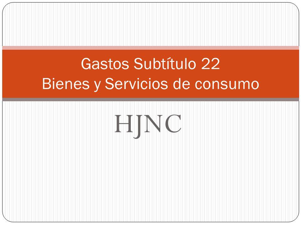 HJNC Gastos Subtítulo 22 Bienes y Servicios de consumo