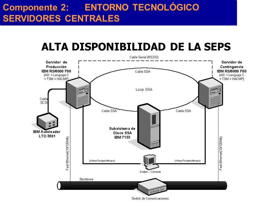 ALTA DISPONIBILIDAD DE LA SEPS Componente 2:ENTORNO TECNOLÓGICO SERVIDORES CENTRALES