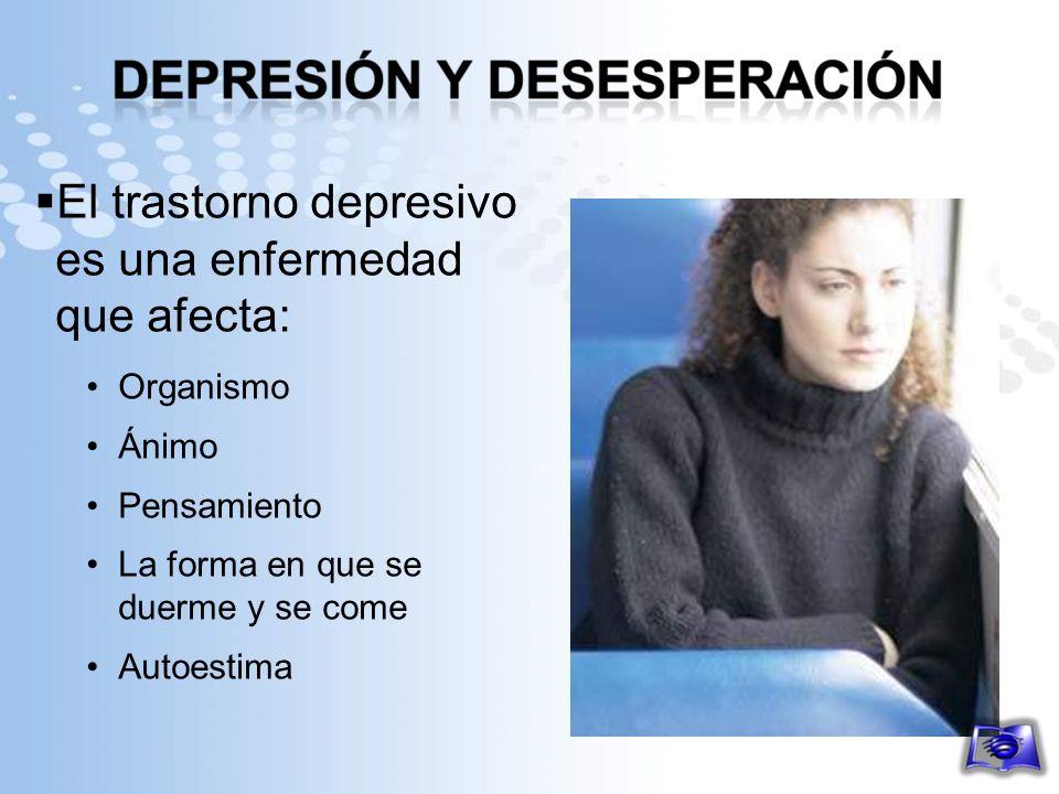 El trastorno depresivo es una enfermedad que afecta: Organismo Ánimo Pensamiento La forma en que se duerme y se come Autoestima