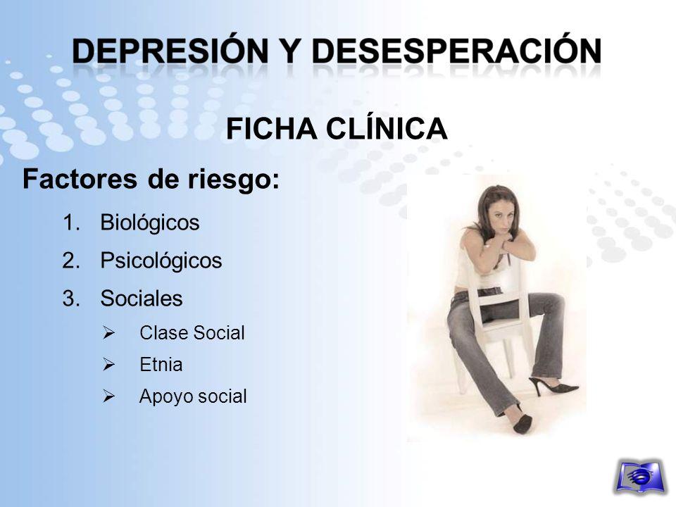 FICHA CLÍNICA Factores de riesgo: 1.Biológicos 2.Psicológicos 3.Sociales Clase Social Etnia Apoyo social