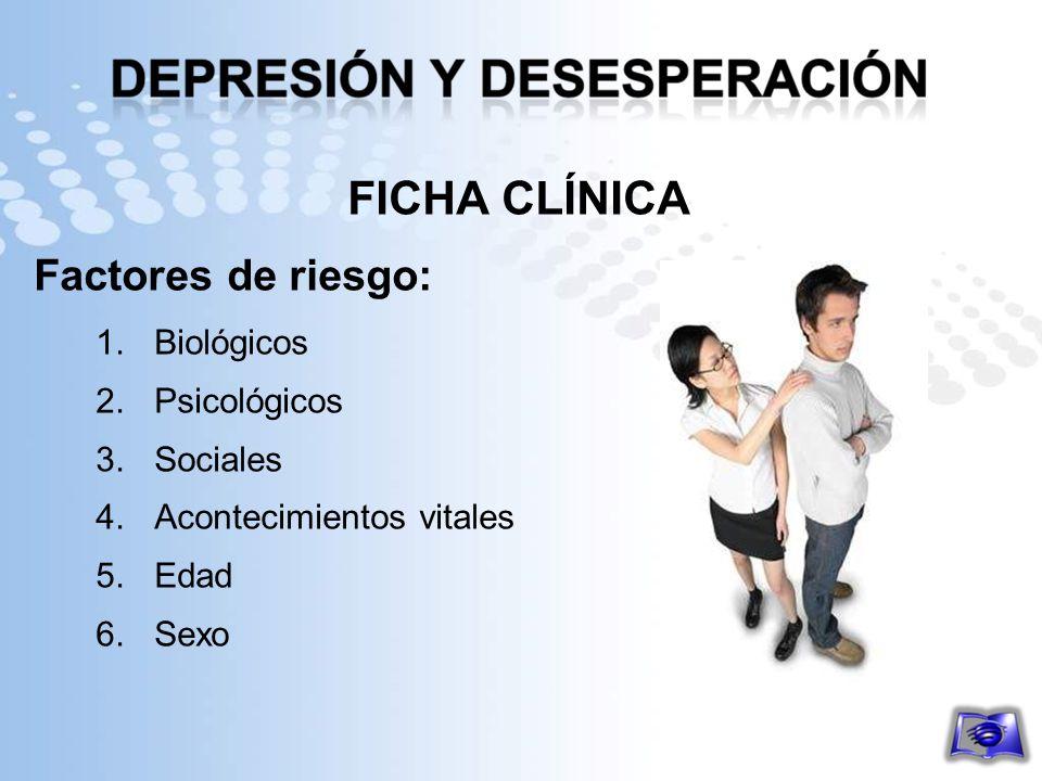 FICHA CLÍNICA Factores de riesgo: 1.Biológicos 2.Psicológicos 3.Sociales 4.Acontecimientos vitales 5.Edad 6.Sexo