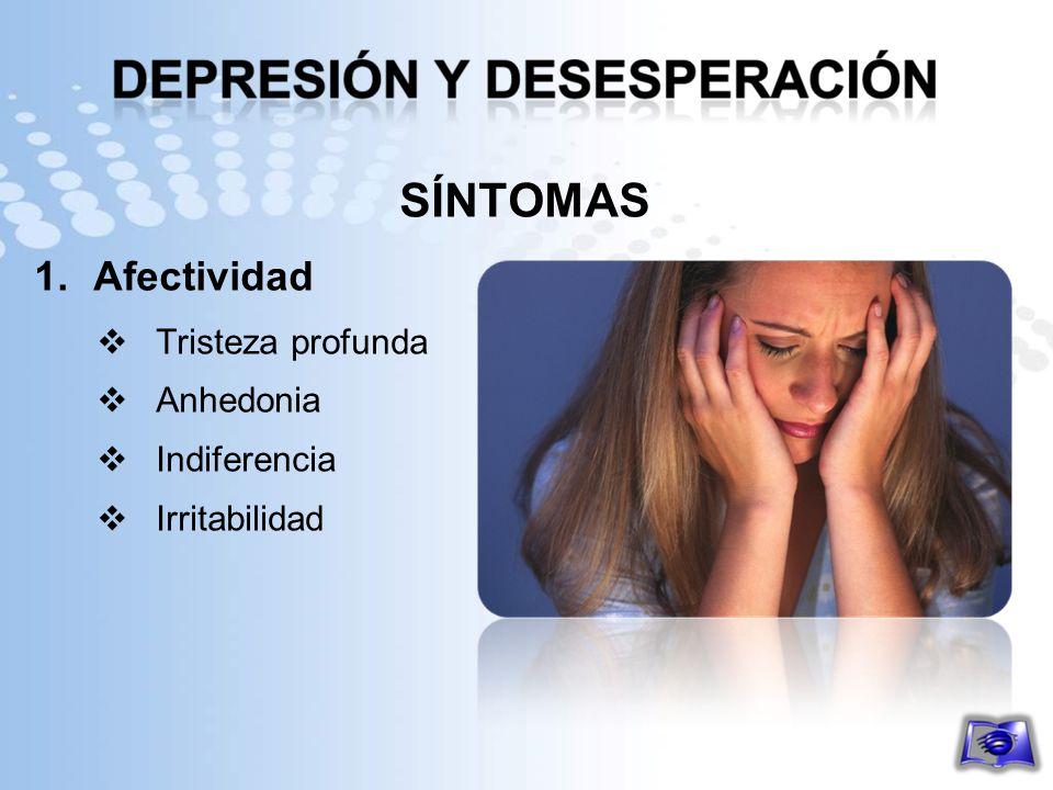 SÍNTOMAS 1.Afectividad Tristeza profunda Anhedonia Indiferencia Irritabilidad
