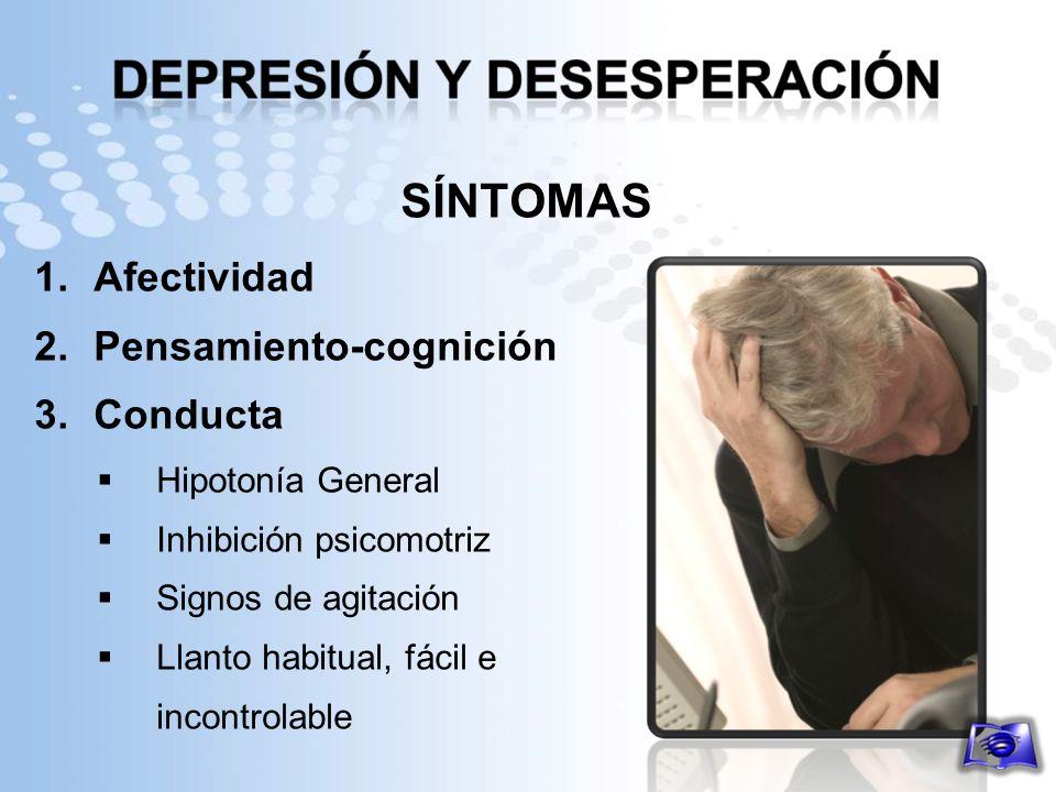 SÍNTOMAS 1.Afectividad 2.Pensamiento-cognición 3.Conducta Hipotonía General Inhibición psicomotriz Signos de agitación Llanto habitual, fácil e incont