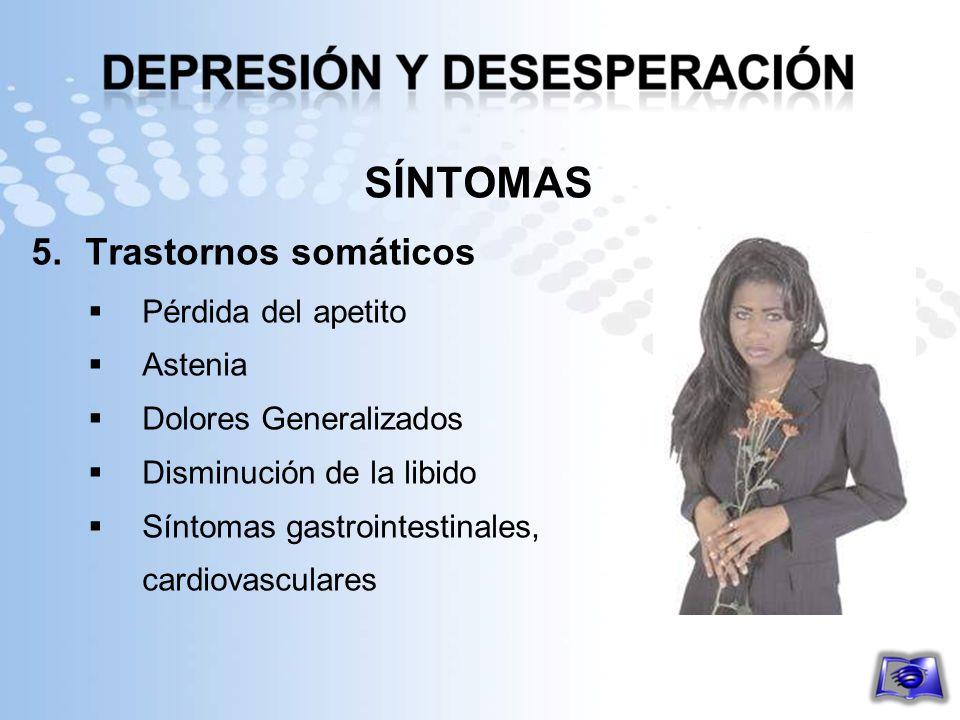 SÍNTOMAS 5.Trastornos somáticos Pérdida del apetito Astenia Dolores Generalizados Disminución de la libido Síntomas gastrointestinales, cardiovascular