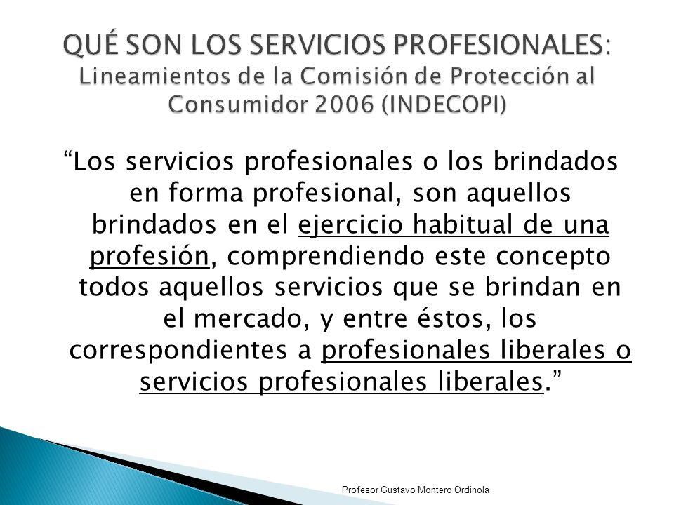 Los servicios profesionales o los brindados en forma profesional, son aquellos brindados en el ejercicio habitual de una profesión, comprendiendo este concepto todos aquellos servicios que se brindan en el mercado, y entre éstos, los correspondientes a profesionales liberales o servicios profesionales liberales.