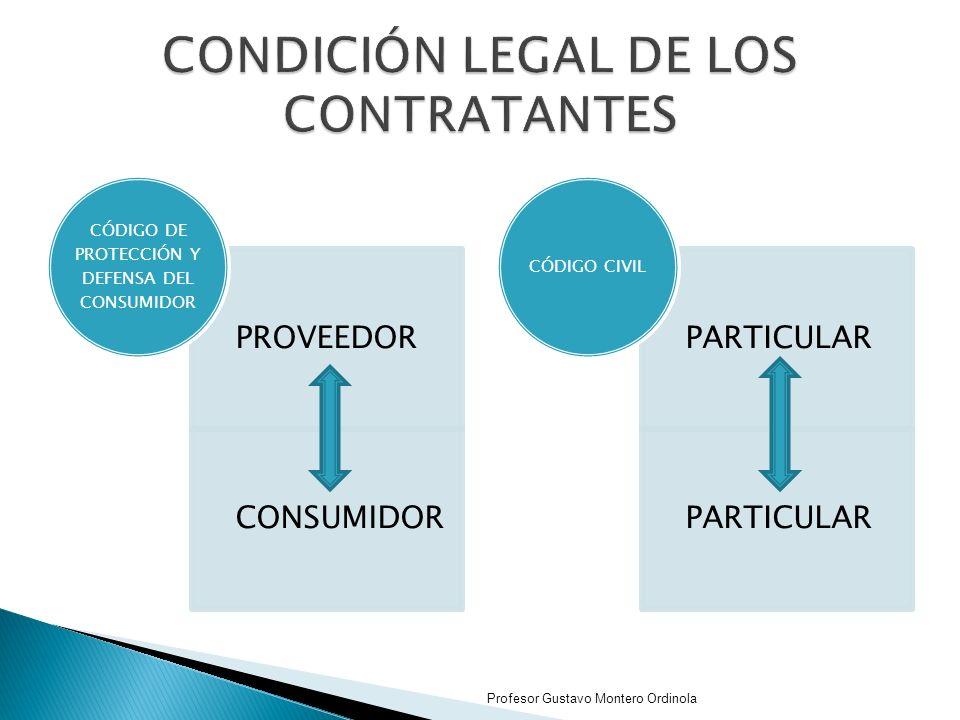 PROVEEDOR CONSUMIDOR CÓDIGO DE PROTECCIÓN Y DEFENSA DEL CONSUMIDOR PARTICULAR CÓDIGO CIVIL Profesor Gustavo Montero Ordinola
