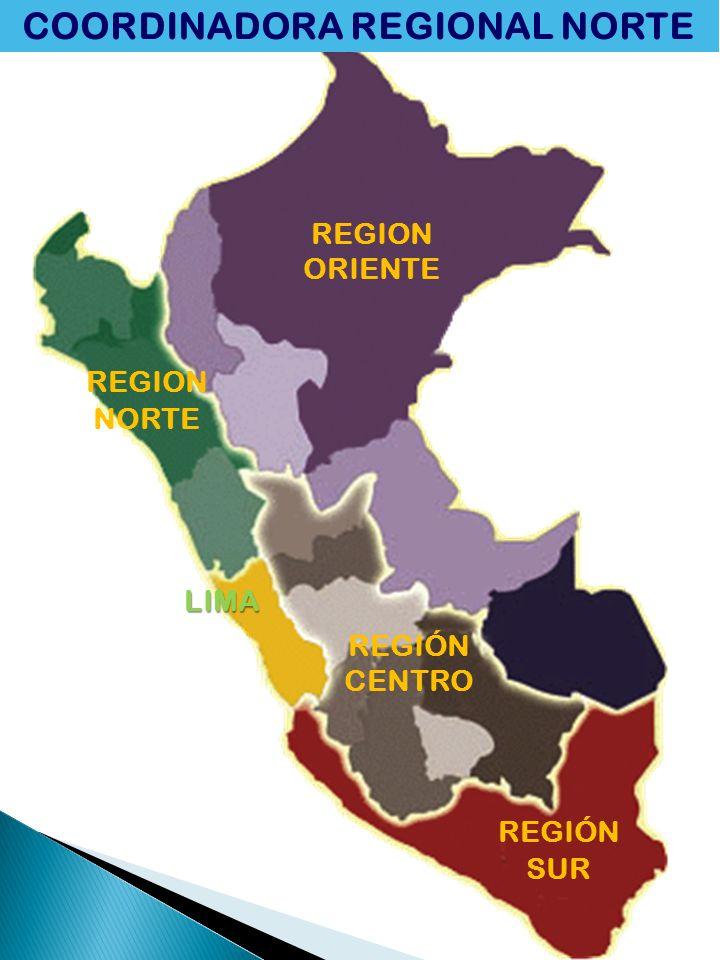 REGION NORTE REGION ORIENTE LIMA REGIÓN CENTRO REGIÓN SUR COORDINADORA REGIONAL NORTE