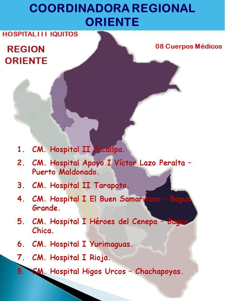 COORDINADORA REGIONAL ORIENTE HOSPITAL I I I IQUITOS 08 Cuerpos Médicos REGION ORIENTE 1.CM. Hospital II Pucallpa. 2.CM. Hospital Apoyo I Víctor Lazo
