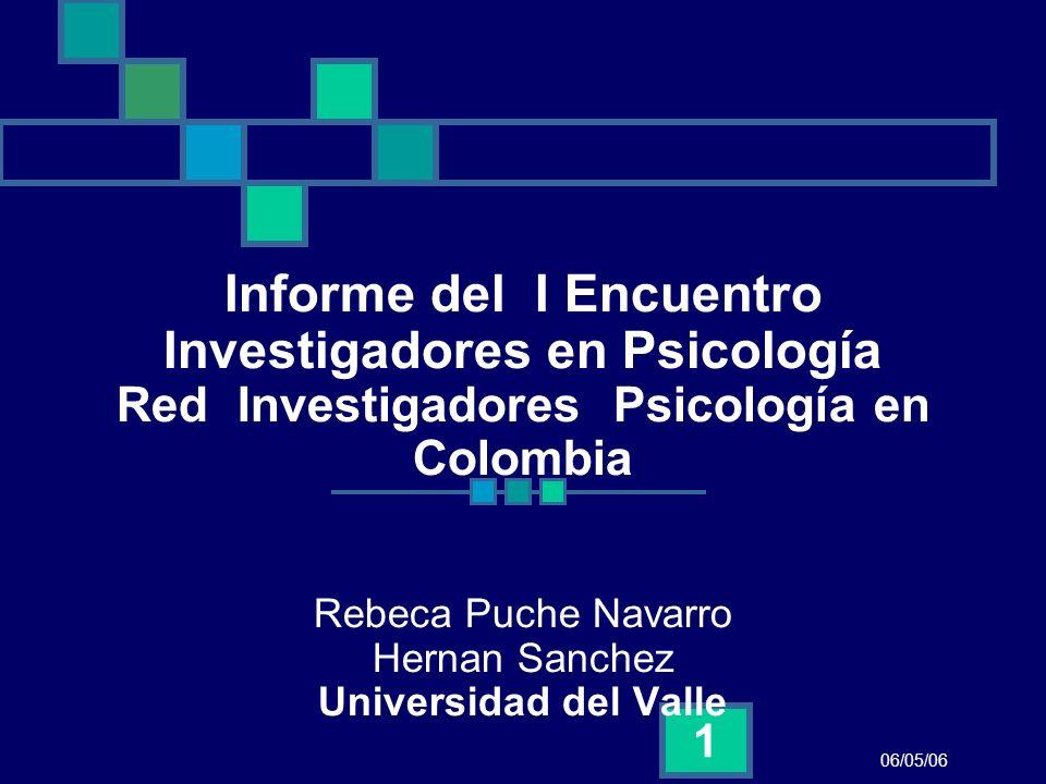 06/05/06 1 Informe del I Encuentro Investigadores en Psicología Red Investigadores Psicología en Colombia Rebeca Puche Navarro Hernan Sanchez Universi