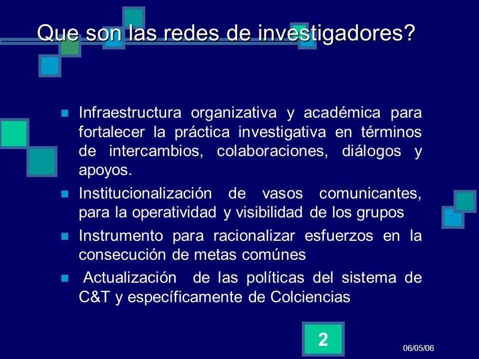 06/05/06 2 Que son las redes de investigadores? Infraestructura organizativa y académica para fortalecer la práctica investigativa en términos de inte