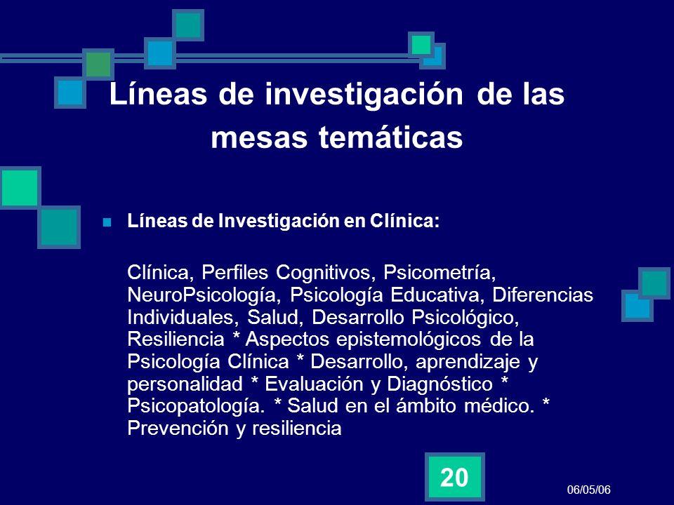 06/05/06 20 Líneas de investigación de las mesas temáticas Líneas de Investigación en Clínica: Clínica, Perfiles Cognitivos, Psicometría, NeuroPsicolo