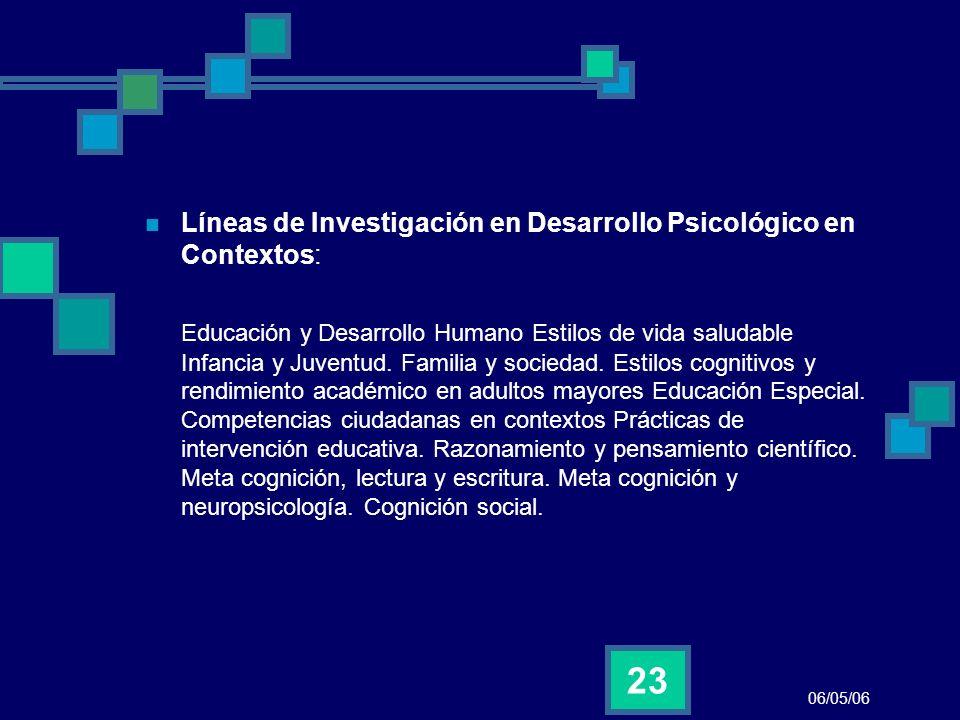 06/05/06 23 Líneas de Investigación en Desarrollo Psicológico en Contextos: Educación y Desarrollo Humano Estilos de vida saludable Infancia y Juventu