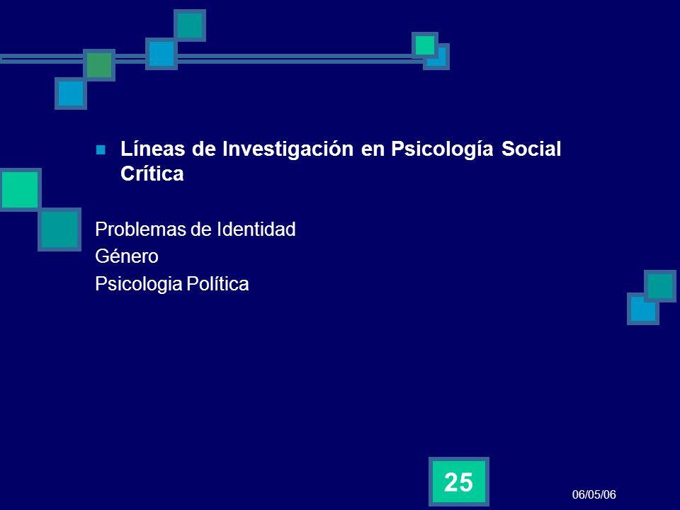 06/05/06 25 Líneas de Investigación en Psicología Social Crítica Problemas de Identidad Género Psicologia Política
