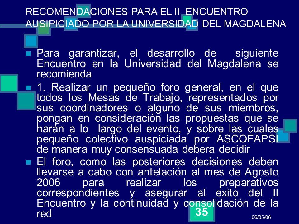 06/05/06 35 Para garantizar, el desarrollo de siguiente Encuentro en la Universidad del Magdalena se recomienda 1. Realizar un pequeño foro general, e