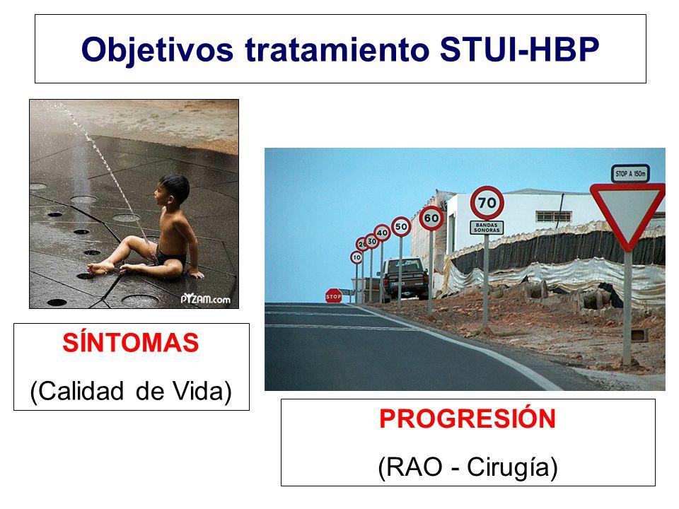 Objetivos tratamiento STUI-HBP SÍNTOMAS (Calidad de Vida) PROGRESIÓN (RAO - Cirugía)