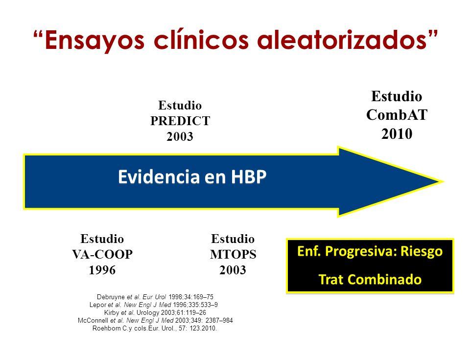 Estudio MTOPS 2003 Estudio PREDICT 2003 Estudio VA-COOP 1996 Debruyne et al. Eur Urol 1998;34:169–75 Lepor et al. New Engl J Med 1996;335:533–9 Kirby