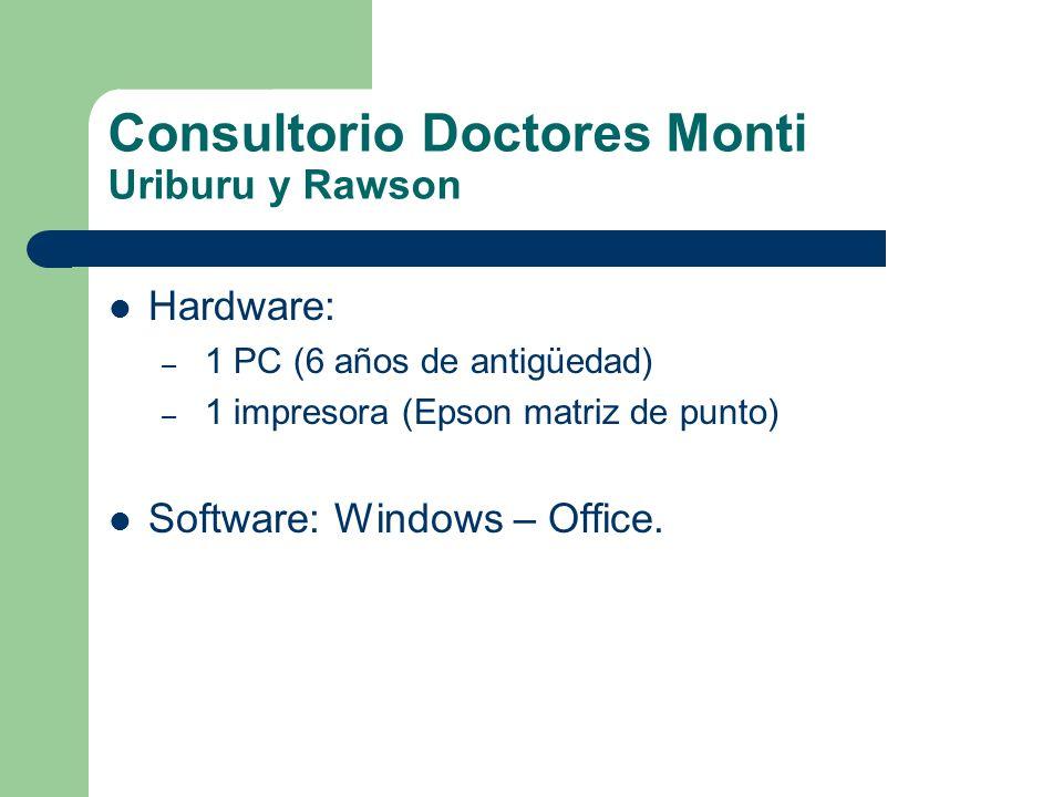 Consultorio Doctores Monti Uriburu y Rawson Hardware: – 1 PC (6 años de antigüedad) – 1 impresora (Epson matriz de punto) Software: Windows – Office.