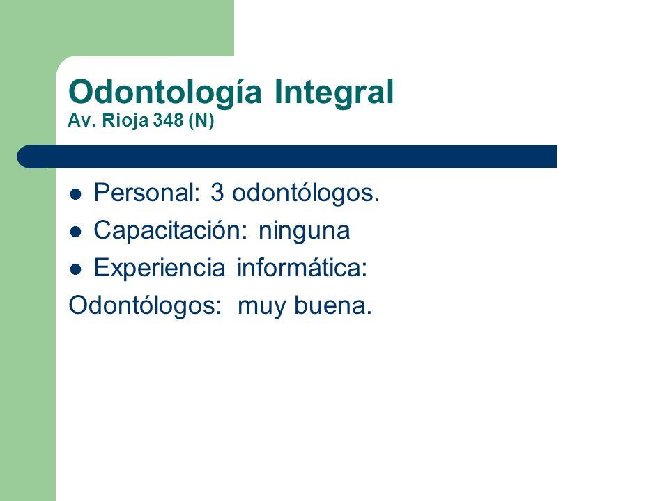 Odontología Integral Av. Rioja 348 (N) Personal: 3 odontólogos. Capacitación: ninguna Experiencia informática: Odontólogos: muy buena.