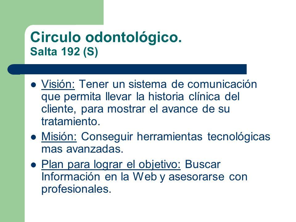 Circulo odontológico. Salta 192 (S) Visión: Tener un sistema de comunicación que permita llevar la historia clínica del cliente, para mostrar el avanc