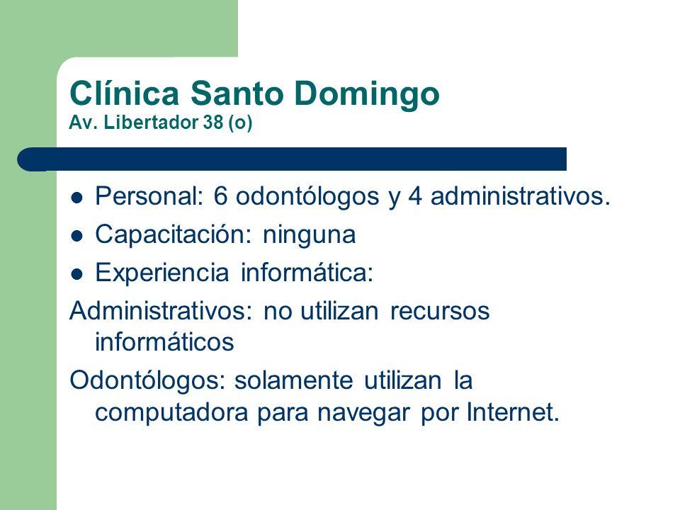 Clínica Santo Domingo Av. Libertador 38 (o) Personal: 6 odontólogos y 4 administrativos. Capacitación: ninguna Experiencia informática: Administrativo