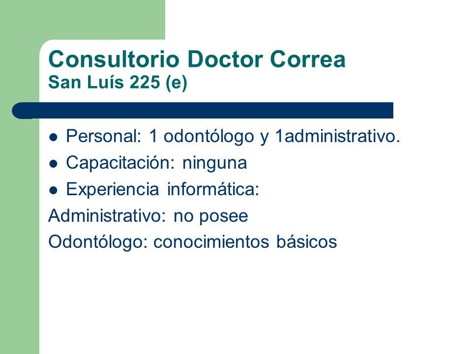 Consultorio Doctor Correa San Luís 225 (e) Hardware: – 1 PC (2 años de antigüedad) – 1 impresora (chorro a tinta) Software: Windows – Office – circulo odontológico