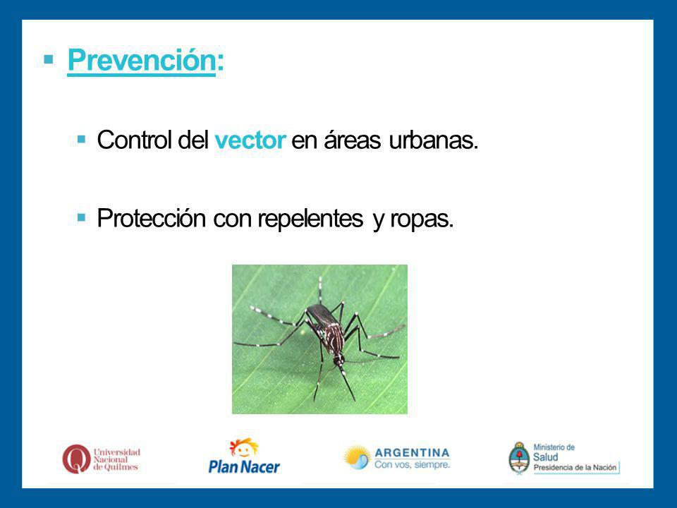 Prevención: Control del vector en áreas urbanas. Protección con repelentes y ropas.
