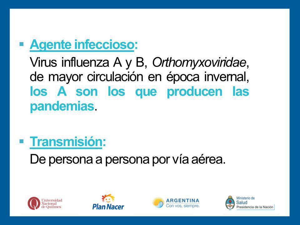 Agente infeccioso: Virus influenza A y B, Orthomyxoviridae, de mayor circulación en época invernal, los A son los que producen las pandemias.