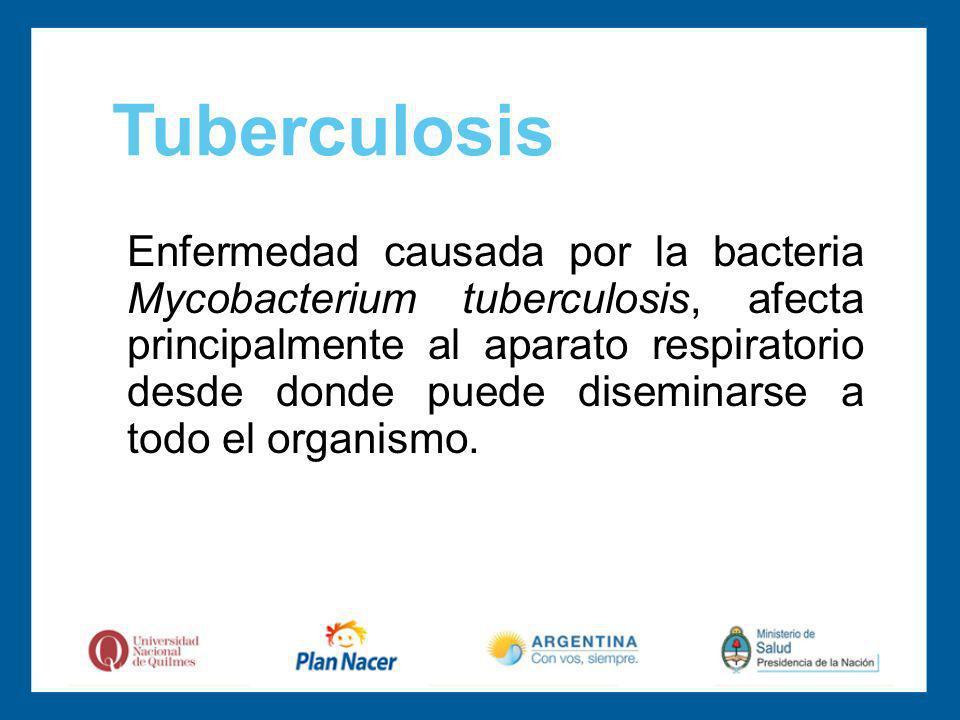 Enfermedad causada por la bacteria Mycobacterium tuberculosis, afecta principalmente al aparato respiratorio desde donde puede diseminarse a todo el organismo.