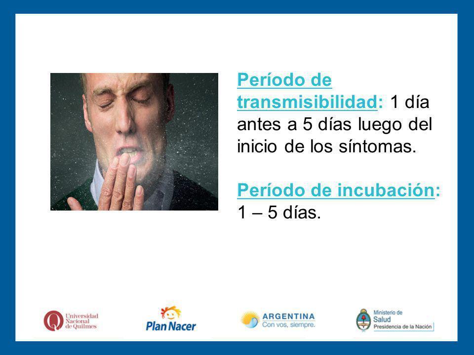 Período de transmisibilidad: 1 día antes a 5 días luego del inicio de los síntomas.