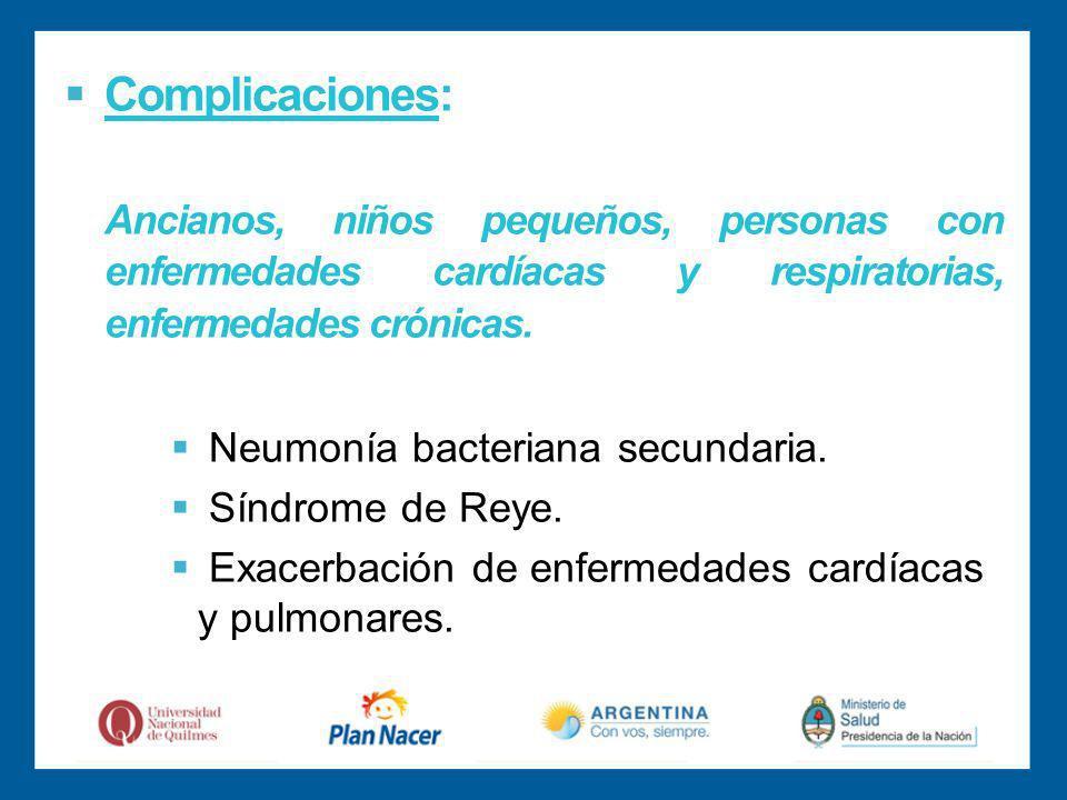 Complicaciones: Ancianos, niños pequeños, personas con enfermedades cardíacas y respiratorias, enfermedades crónicas.