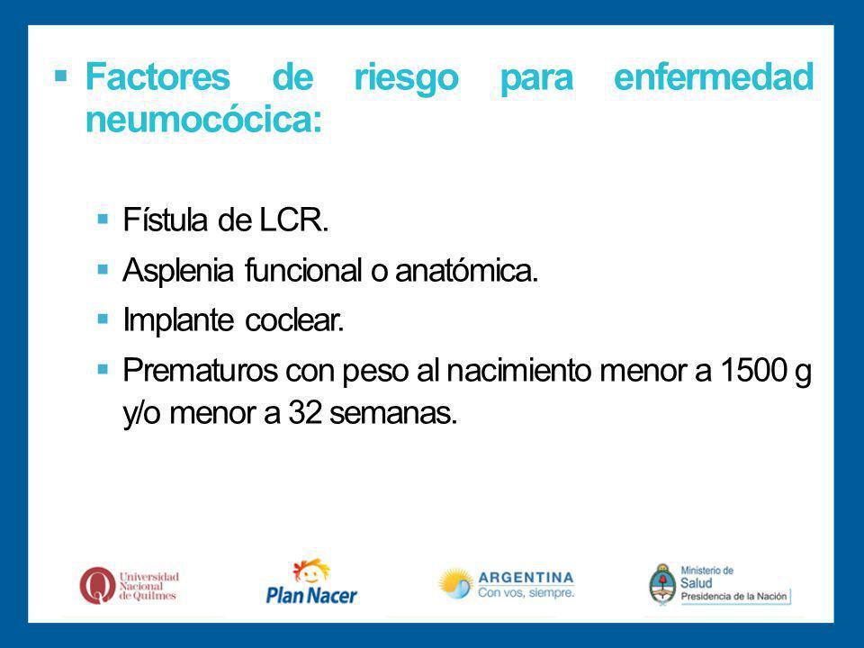 Factores de riesgo para enfermedad neumocócica: Fístula de LCR.