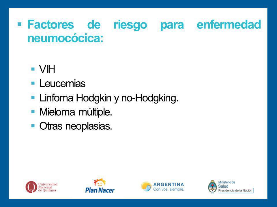 Factores de riesgo para enfermedad neumocócica: VIH Leucemias Linfoma Hodgkin y no-Hodgking.