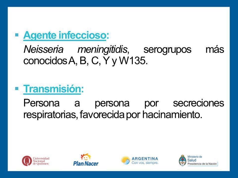Agente infeccioso: Neisseria meningitidis, serogrupos más conocidos A, B, C, Y y W135.