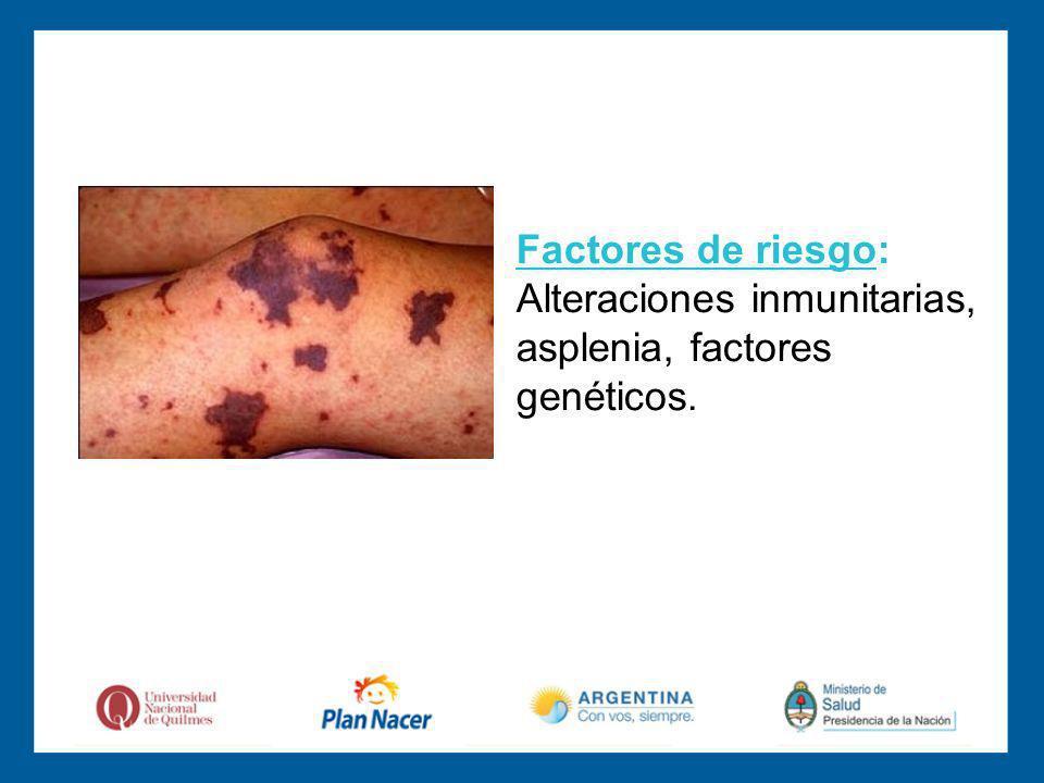 Factores de riesgo: Alteraciones inmunitarias, asplenia, factores genéticos.