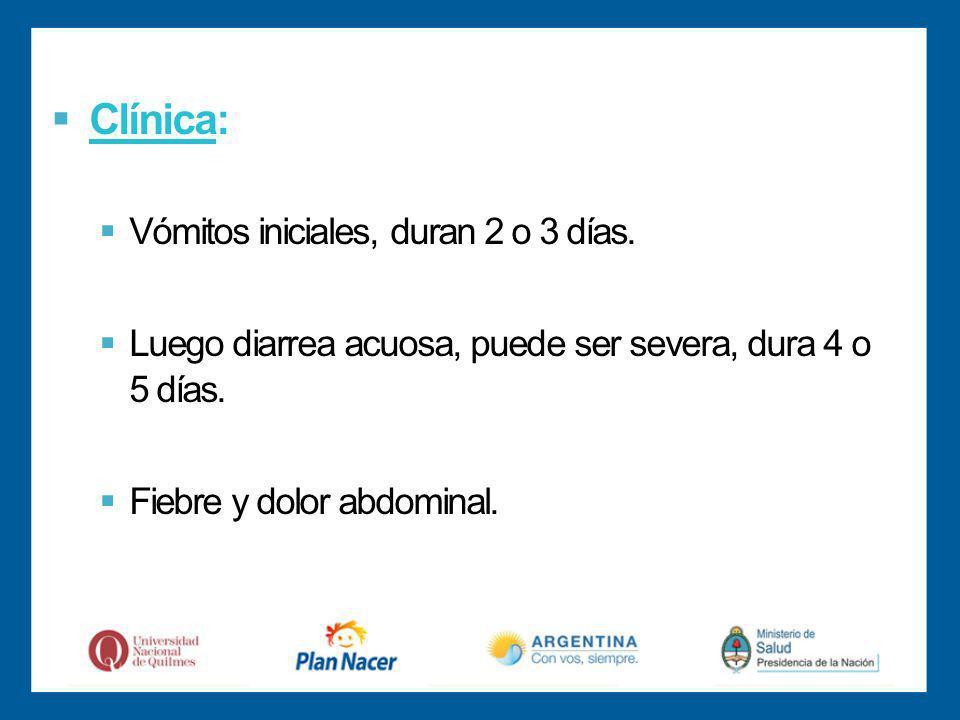 Clínica: Vómitos iniciales, duran 2 o 3 días.